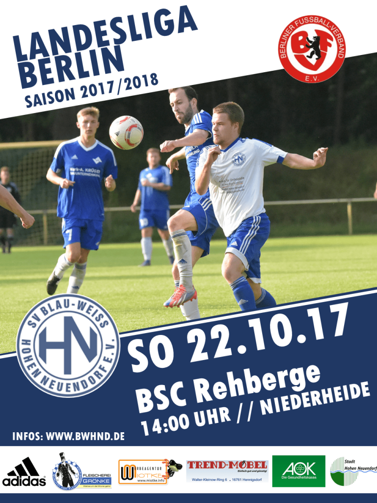 1. Herren: BWHND - BSC Rehberge @ Niederheide | Hohen Neuendorf | Brandenburg | Deutschland
