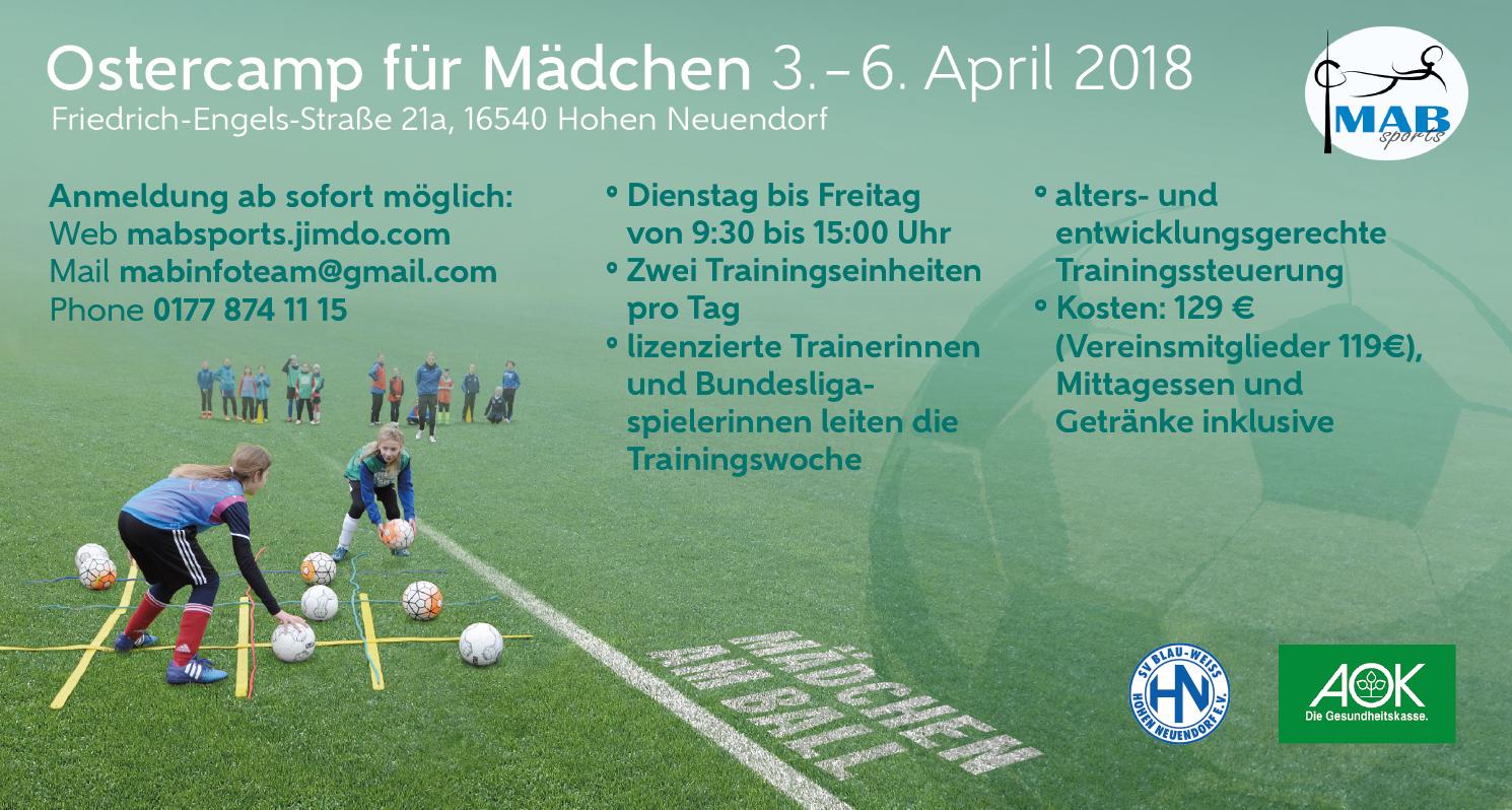 6. MABsports Ostercamp für Mädchen @ Niederheide | Hohen Neuendorf | Brandenburg | Deutschland