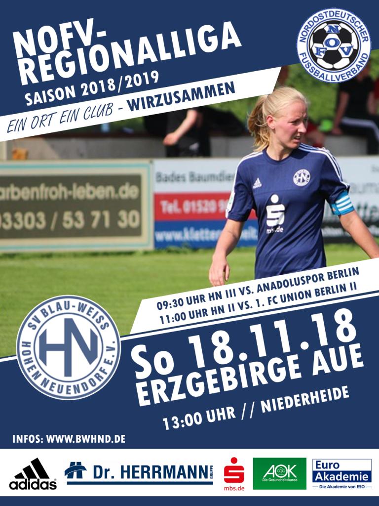 1. Frauen: HN vs. Erzgebirge Aue @ Niederheide | Hohen Neuendorf | Brandenburg | Deutschland
