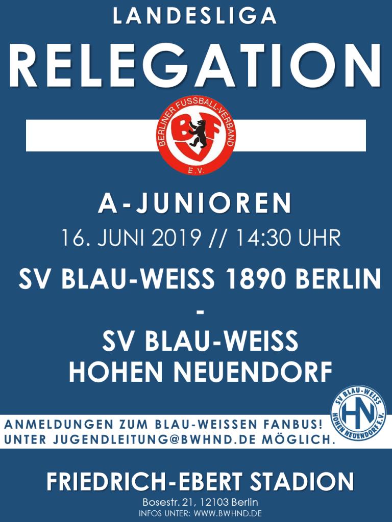 A-Junioren: Relegation zur Landesliga gegen Blau-Weiß 90 Berlin inkl. FANBUS @ Friedrich-Ebert-Stadion | Berlin | Berlin | Deutschland